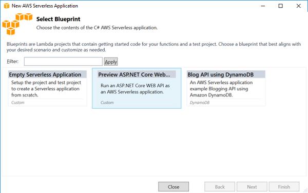 Running serverless asp core web apis with amazon lambda aws blueprint picker malvernweather Image collections
