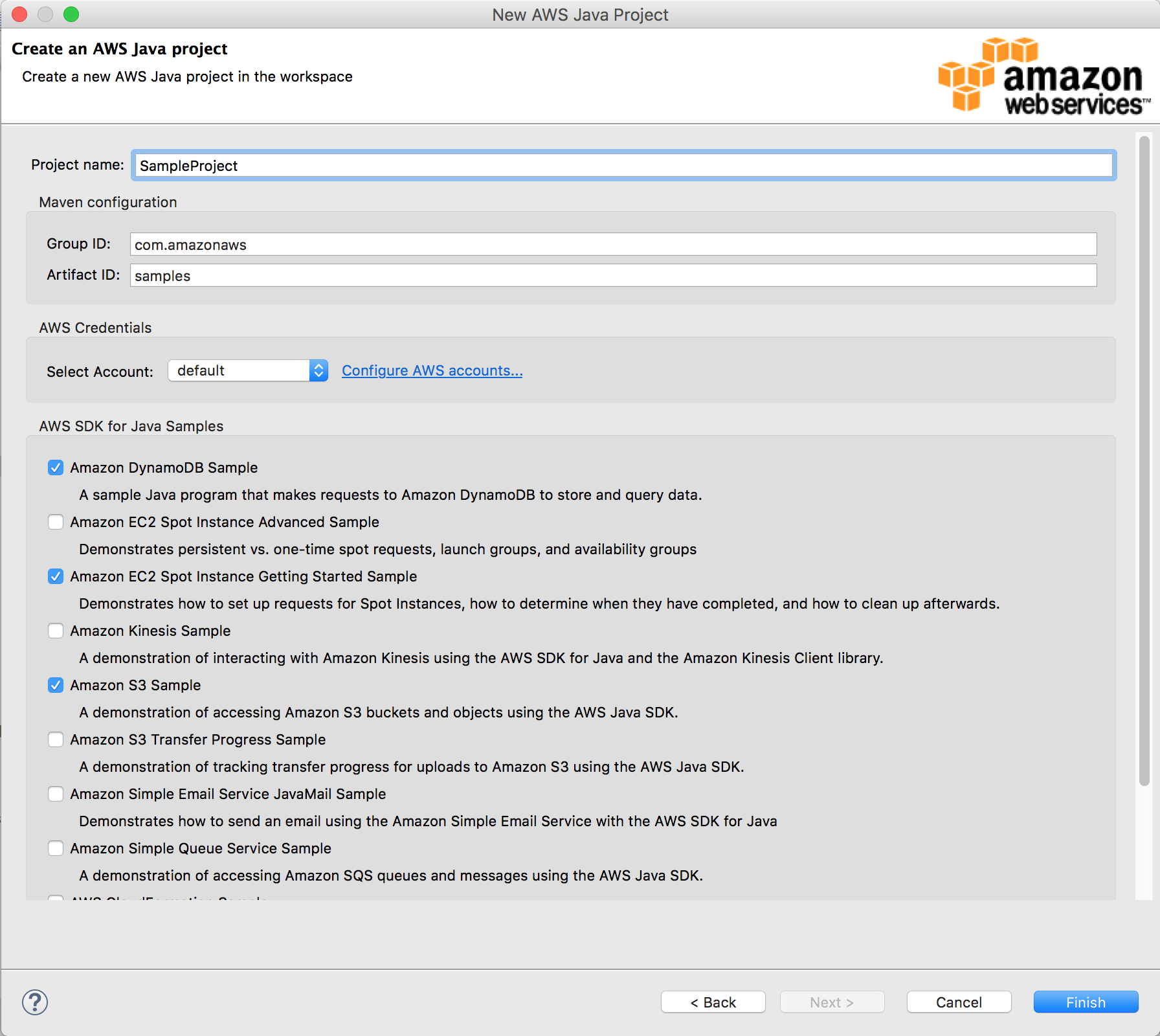 AWS Toolkit for Eclipse: Support for Creating Maven Projects for AWS
