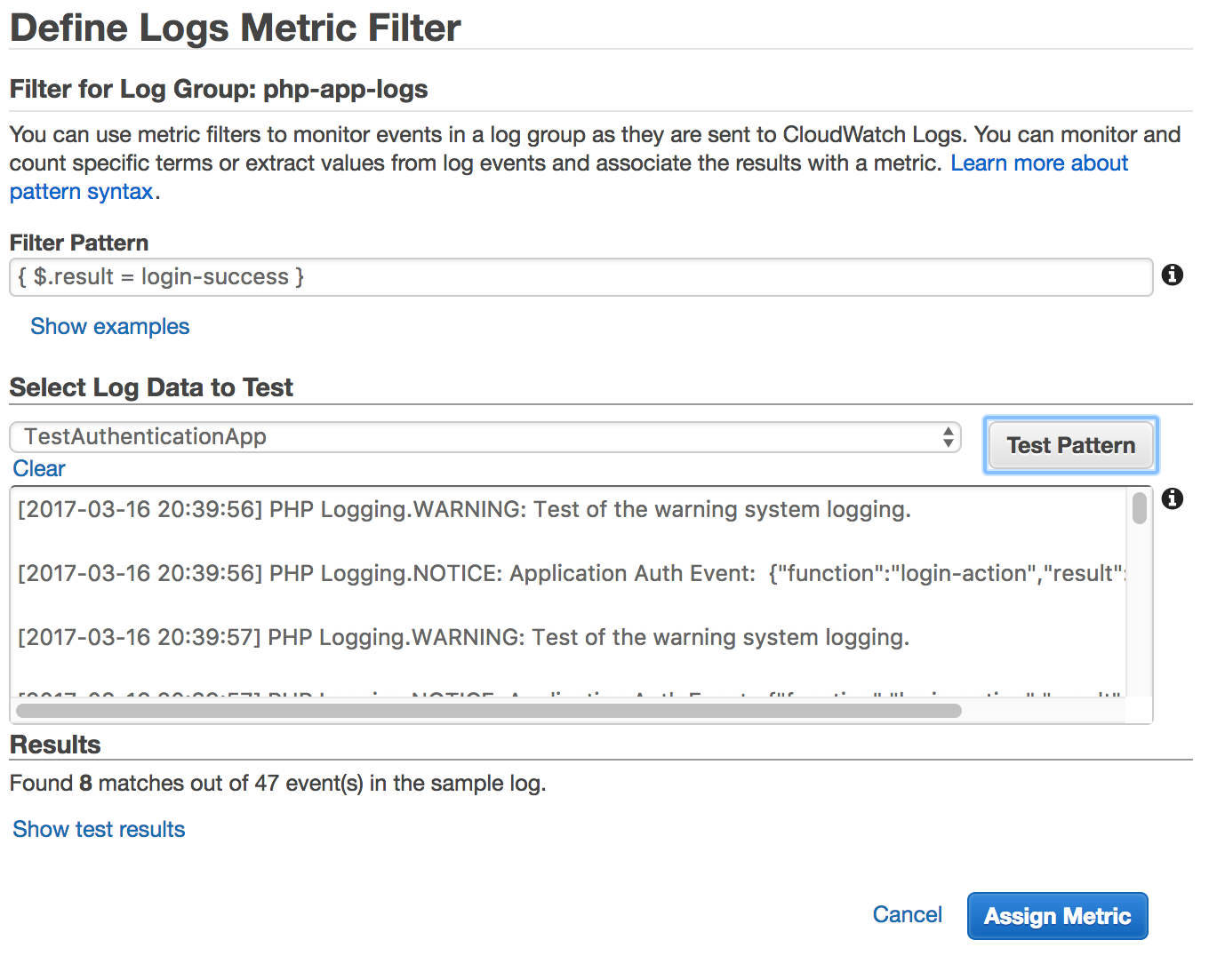 PHP application logging with Amazon CloudWatch Logs and Monolog