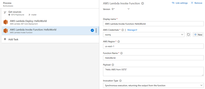 Working with Lambda Functions and Visual Studio Team