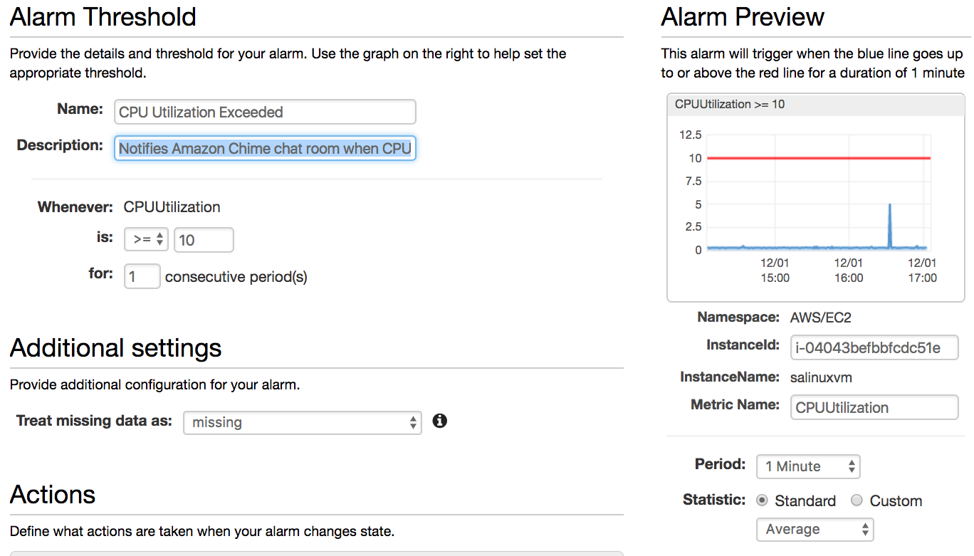 Send Real-Time Amazon CloudWatch Alarm Notifications to Amazon Chime
