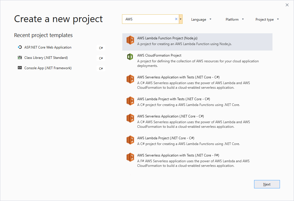 AWS Toolkit for Visual Studio now supports Visual Studio