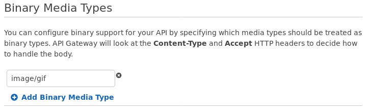 Screenshot of API Gateway console showing a Binary Media Type of image/gif