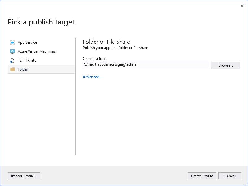 Visual Studio publishing options