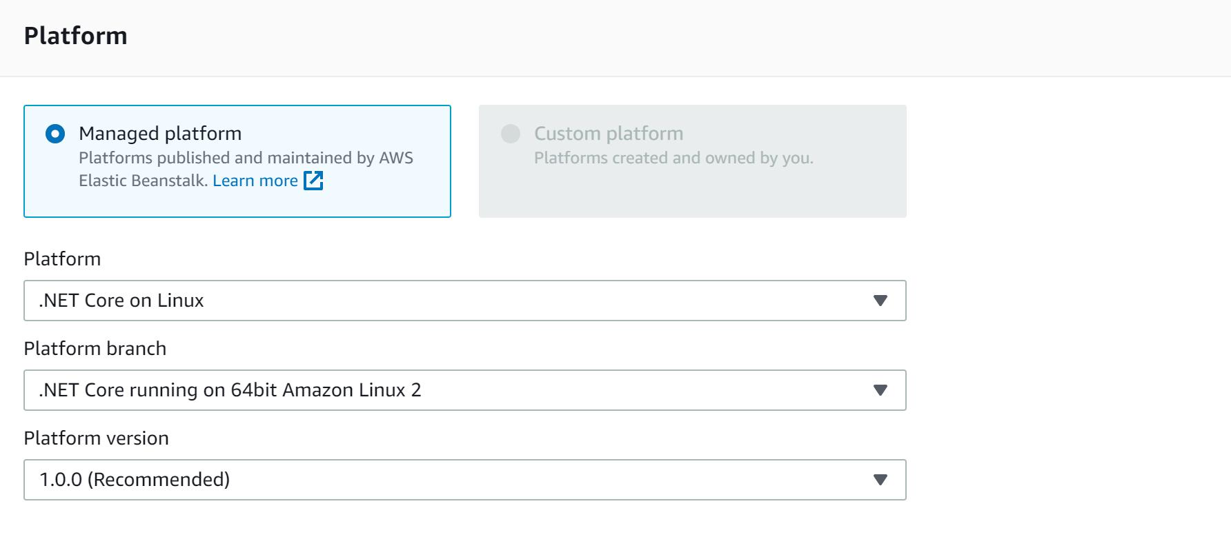 AWS console platform selector