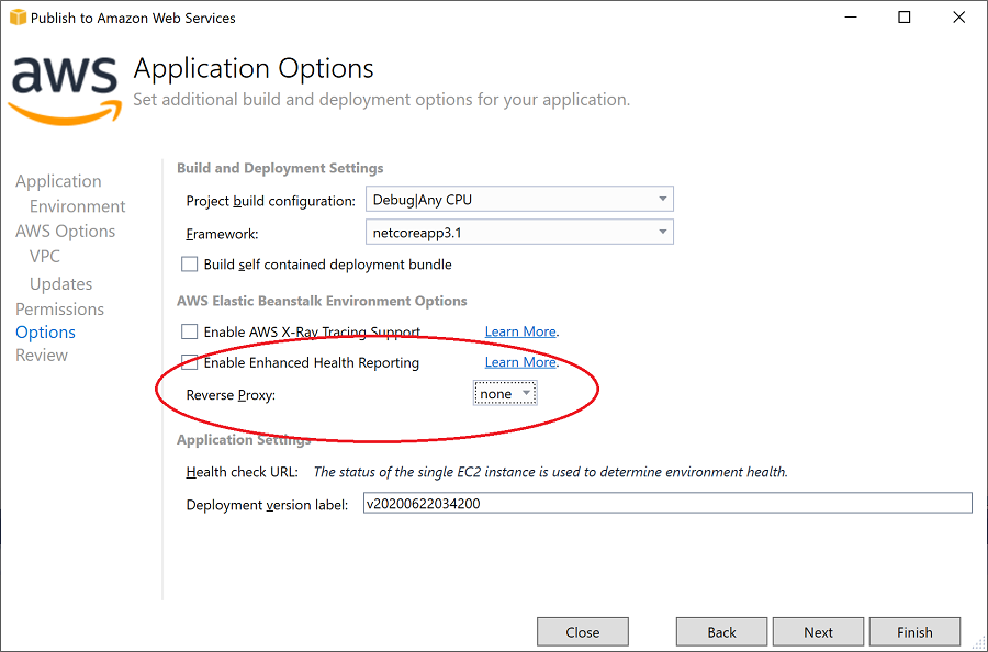 AWS Options page reverse proxy settings