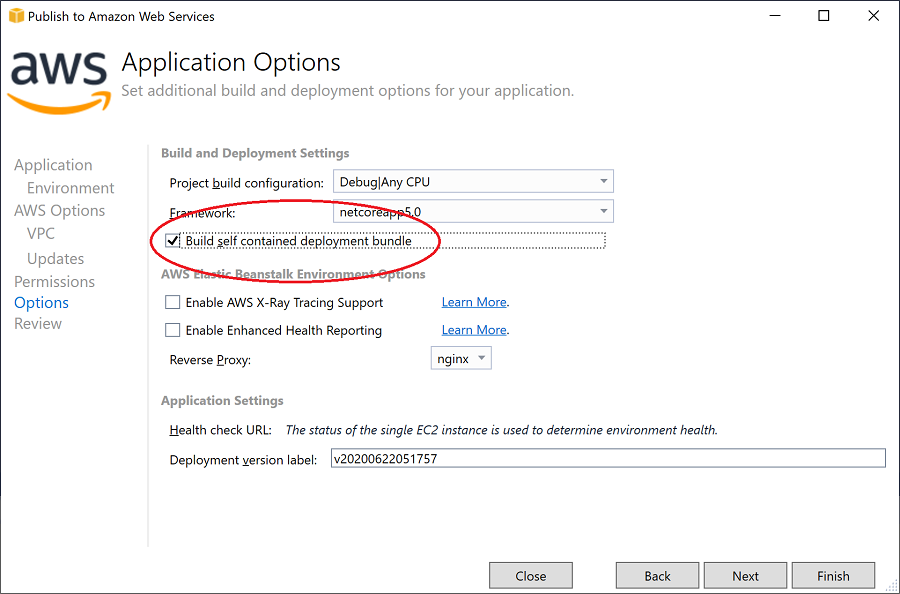 Self contained option in deployment wizard