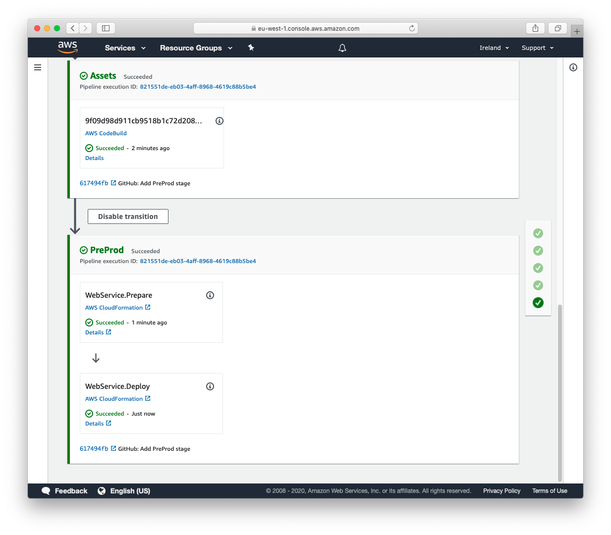 Screenshot of AWS CodePipeline console after the first stage has finished deploying