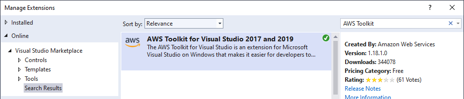 Visual Studio Extension Manager searching for AWS Toolkit
