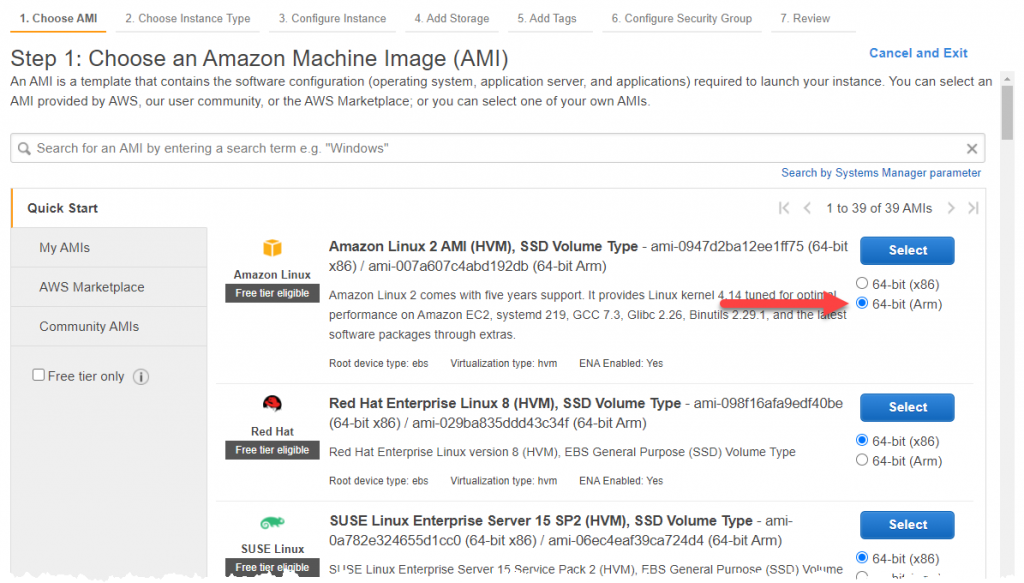 Amazon Machine Image 64-bit (Arm) selection