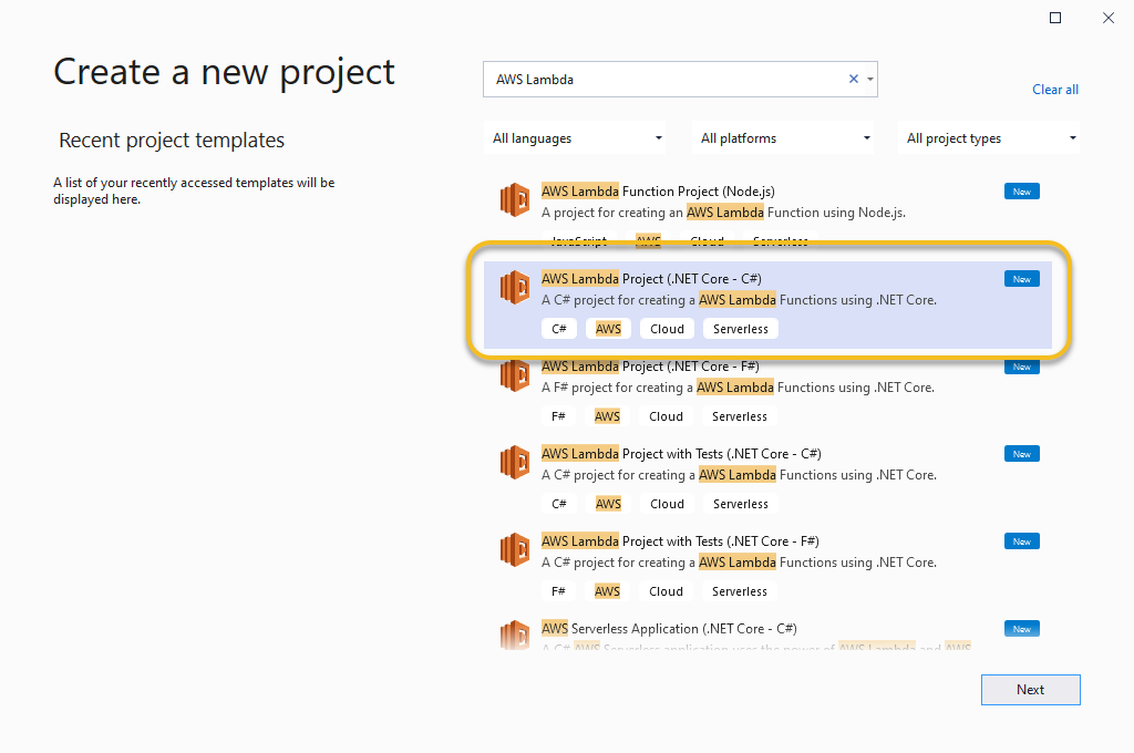 Visual Studio select AWS Lambda Project in Create Project dialog
