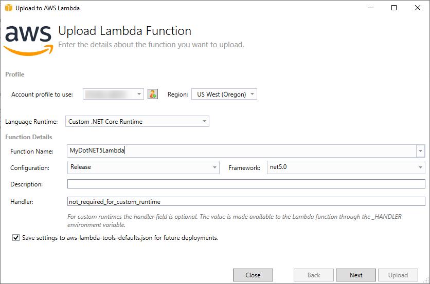 Publish to AWS Lambda dialog