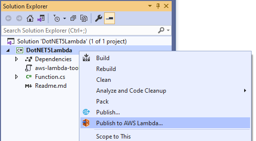 Selecting Publish to AWS Lambda in the Solution Explorer context menu