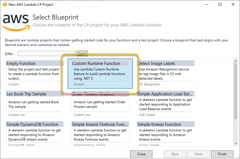 Selecting Custom Runtime blueprint in AWS Toolkit for Visual Studio