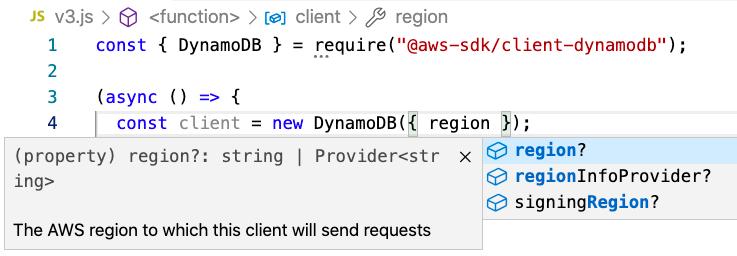 Intellisense Code completion in VSCode for DynamoDB from AWS SDK for JavaScript