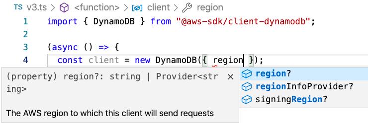 Intellisense Code completion for TypeScript code in VSCode for DynamoDB from AWS SDK for JavaScript