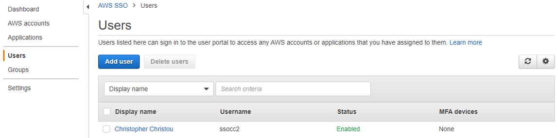 AWS SSO Users