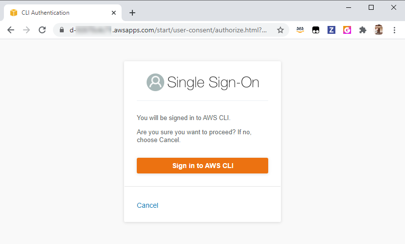 SSO Access confirmation after logging in to the AWS SSO portal