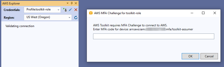 Prompt for MFA Code when Switching to an MFA profile in the Toolkit