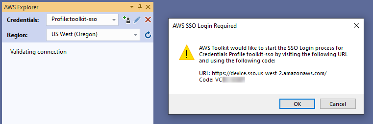 Prompt to start the SSO Login flow after selecting an AWS SSO profile from the Toolkit