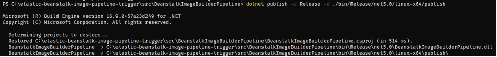 NET project compilation output