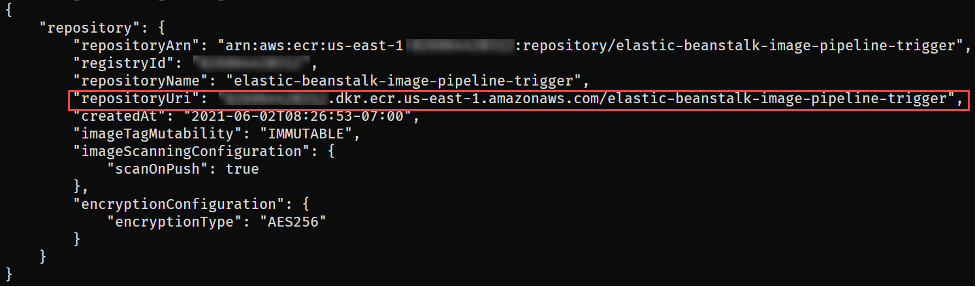 ECR repository creation output