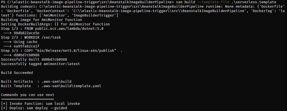 SAM build command output