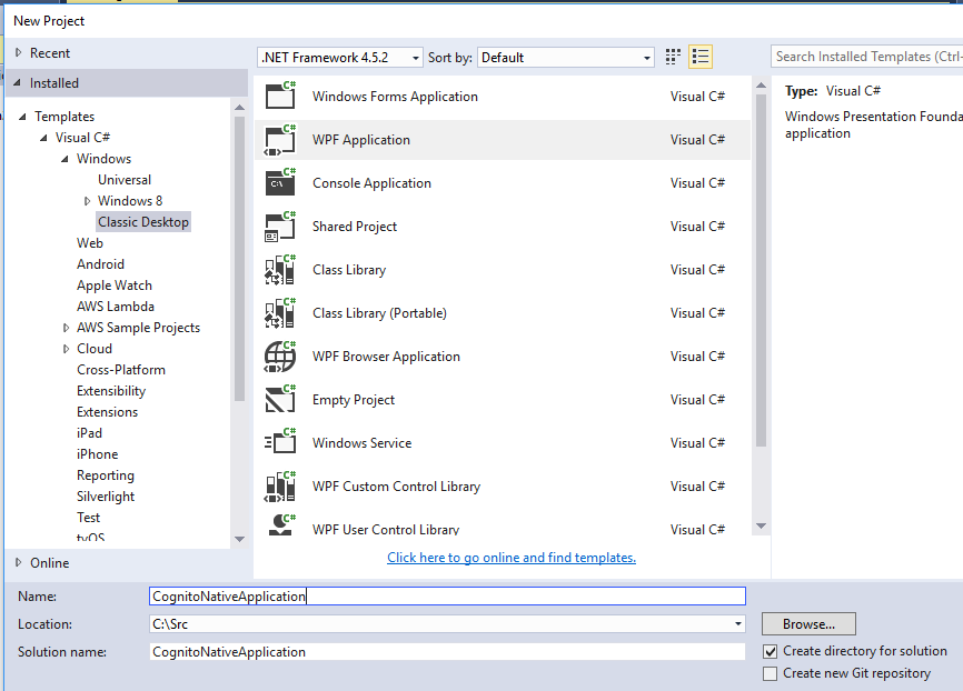 Sign Up and Confirm With Amazon Cognito User Pools Using C# ... Asp Net Mvc Web Application Template Missing In Vs on