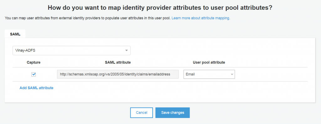 Amazon Cognito User Pools supports federation with SAML  | AWS