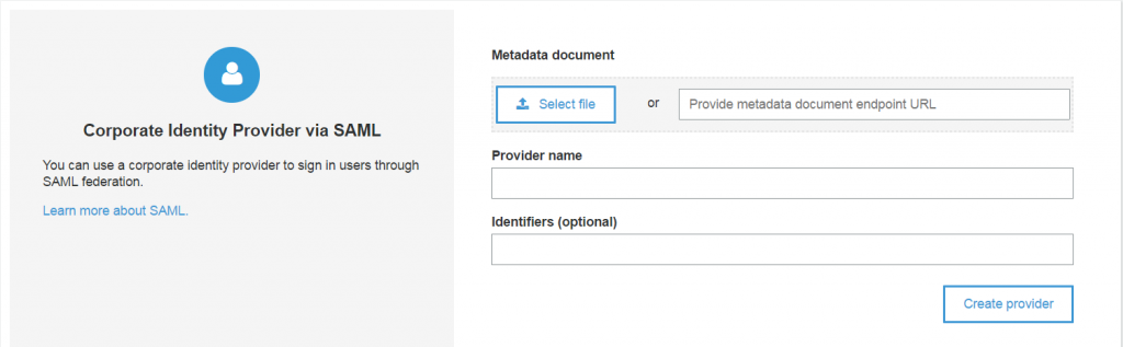 Amazon Cognito User Pools supports federation with SAML