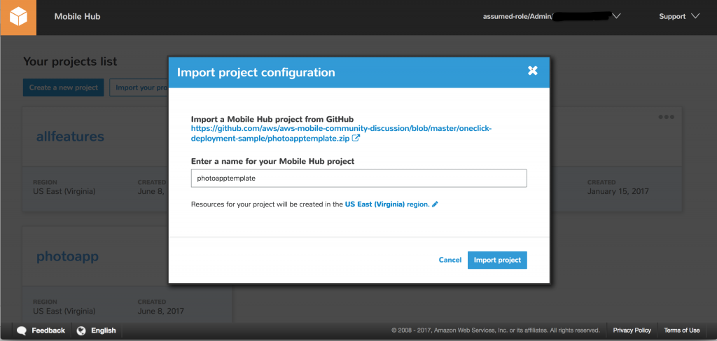 Importing a shared project configuration from a GitHub repository