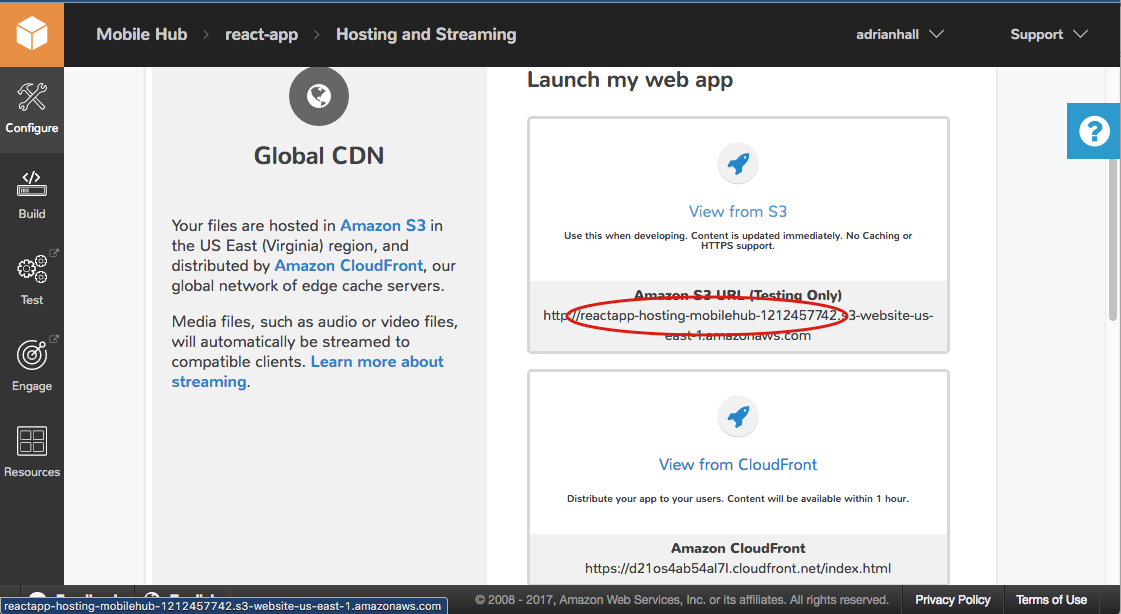 Deploy a React App to S3 and CloudFront with AWS Mobile Hub | AWS