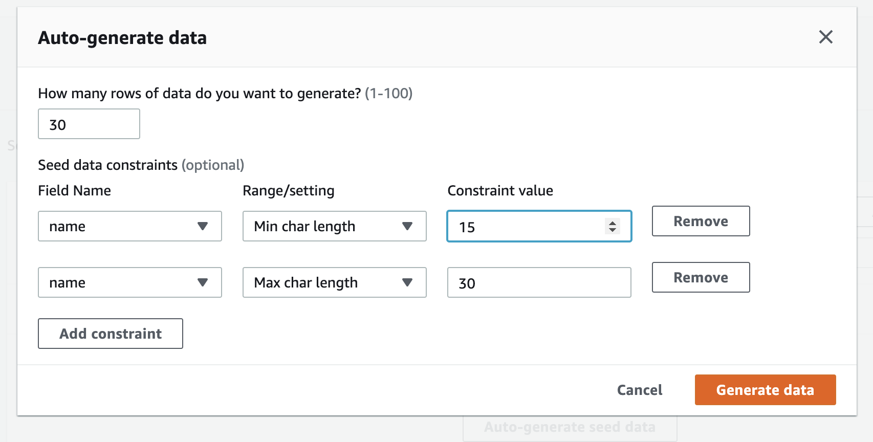 Admin UI - Content - Seed data generation screenshot