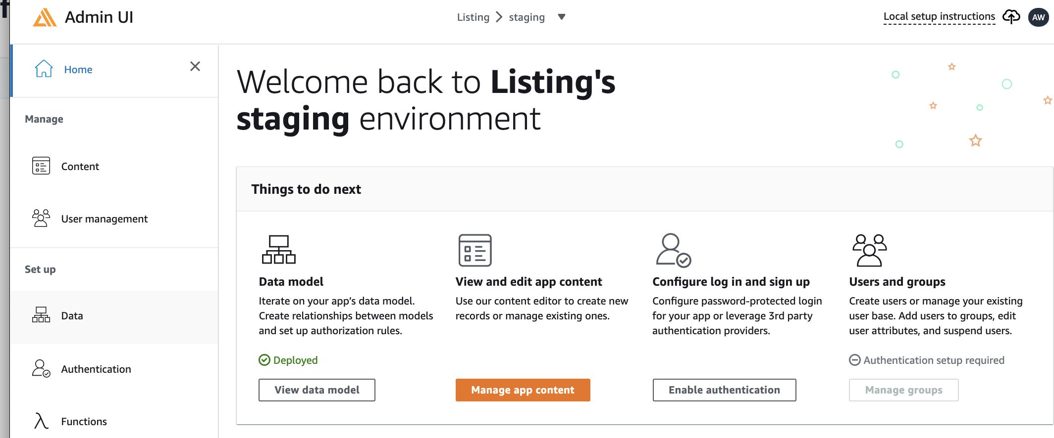 Amplify Admin UI - Home screenshot