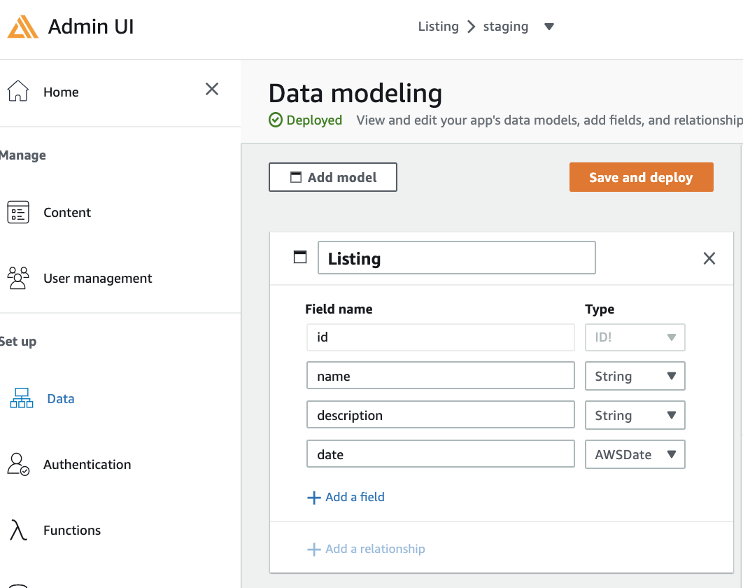Amplify Admin UI - Data screenshot