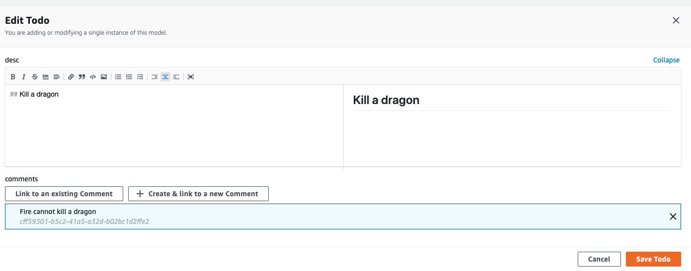 Admin UI Data Manager markdown editor screenshot