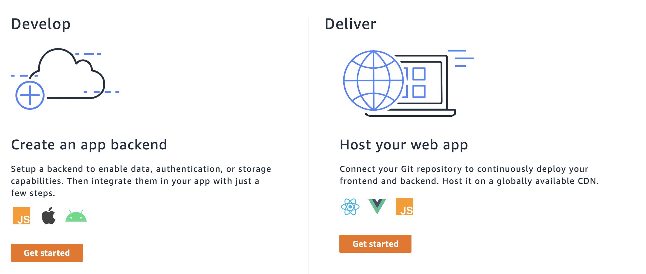 AWS Amplify Sandbox create an app backend or host your web app options