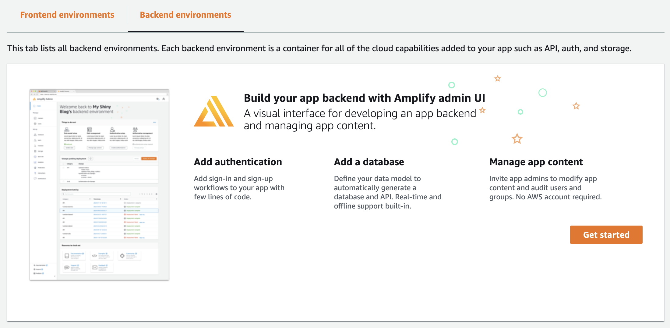 Amplify App Get Started Backend environments