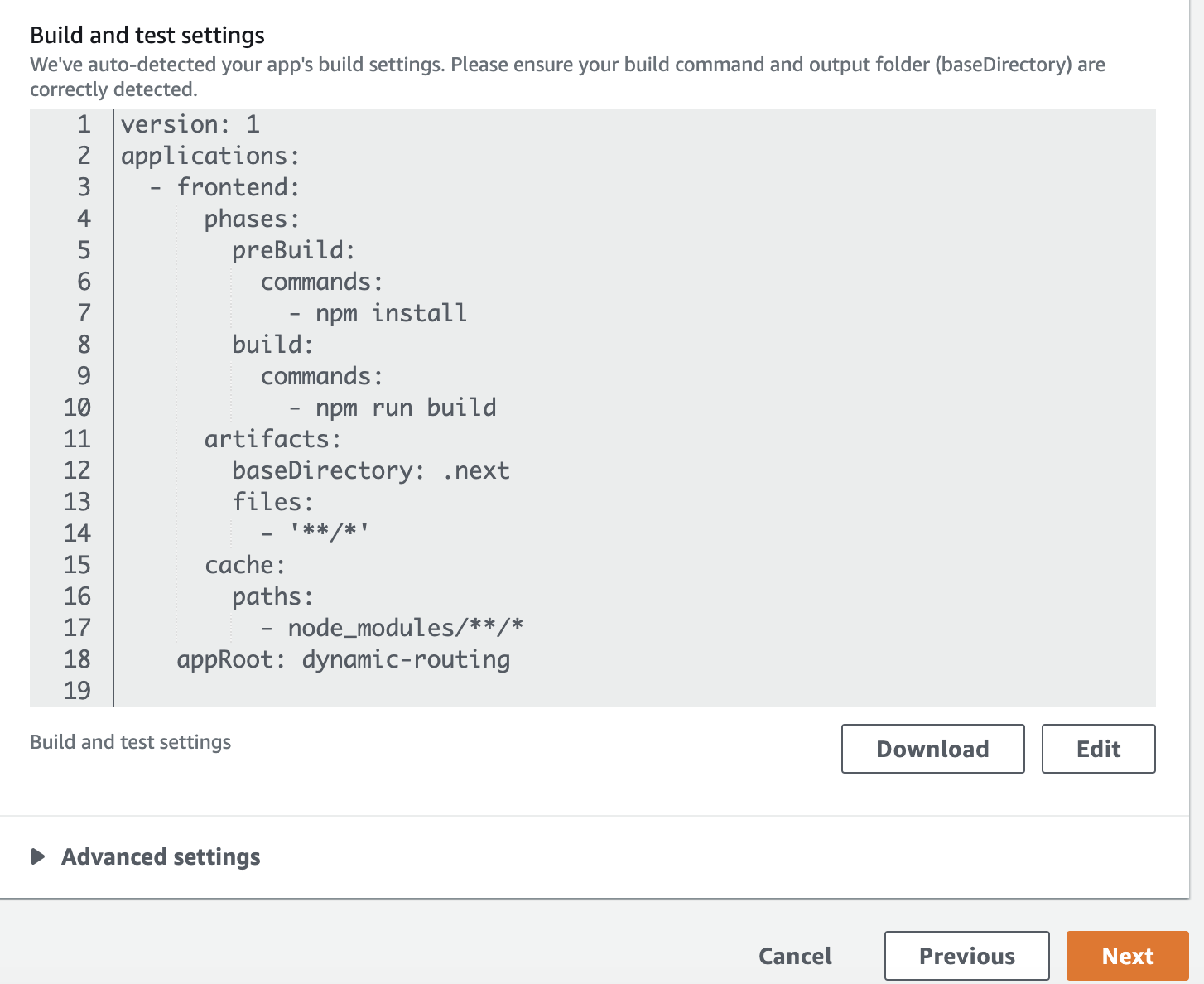 AWS Amplify Build and test settings