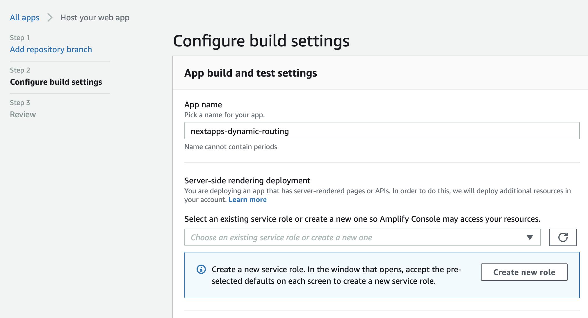 AWS Amplify host your web app, configure build settings