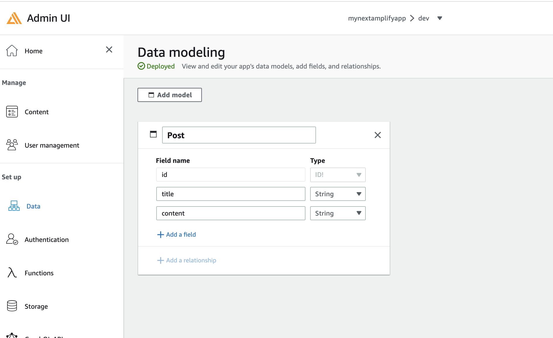 Admin UI Data modeling of Post object