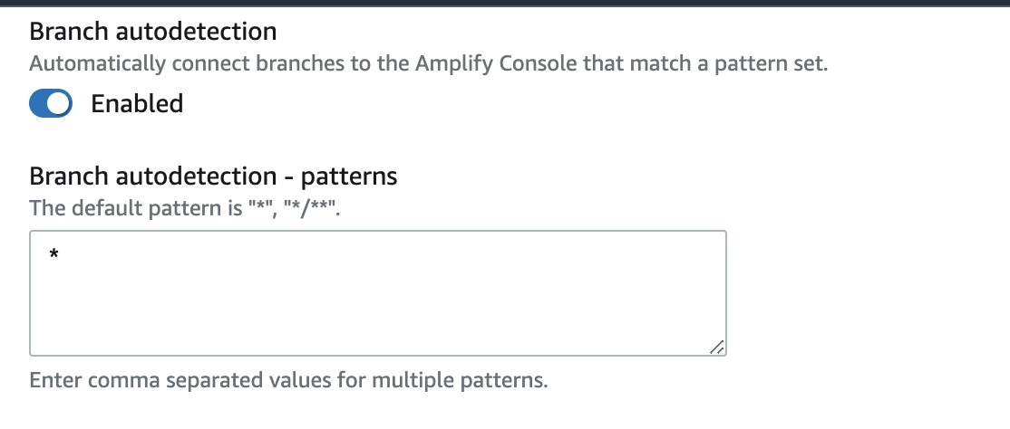Amplify Console enable branch autodetection