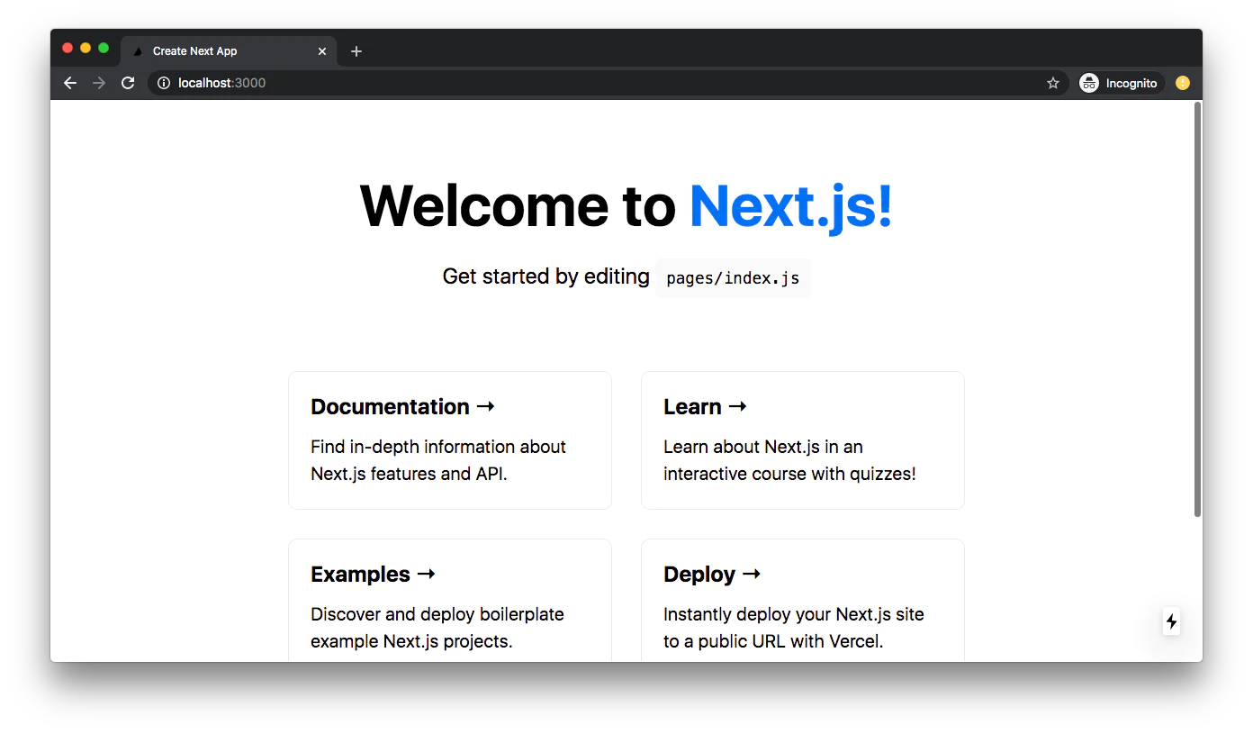 Welcome to Next.js browser screen on localhost