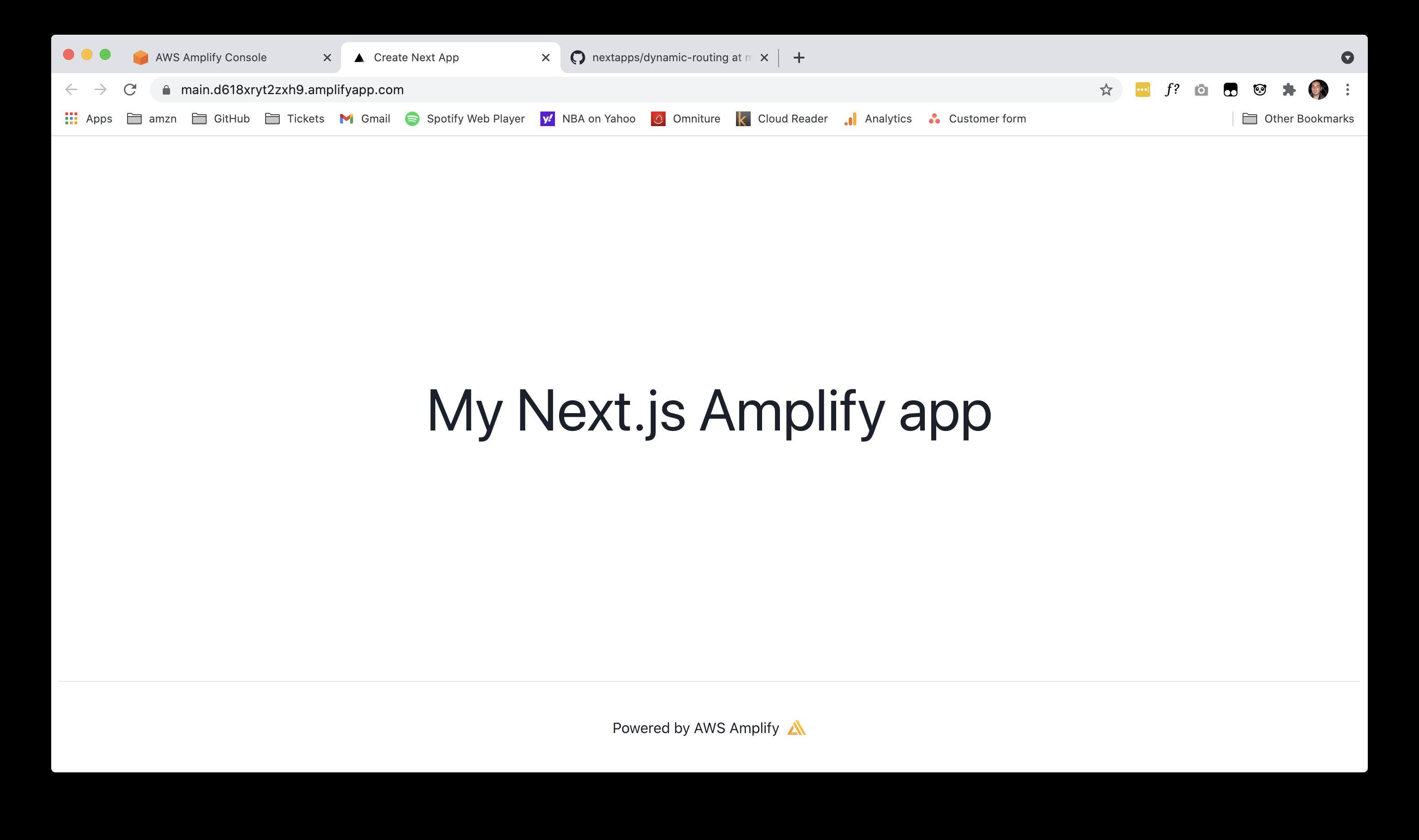 My Next.js Amplify App deployed on Amplify backend