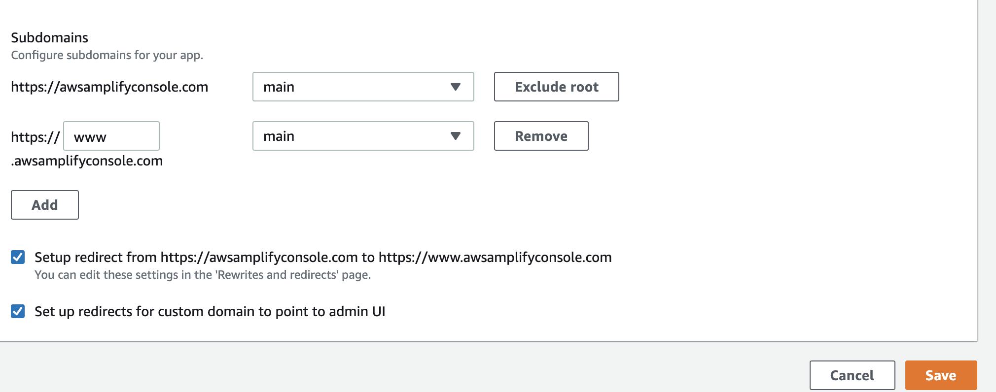 Amplify Console set subdomains