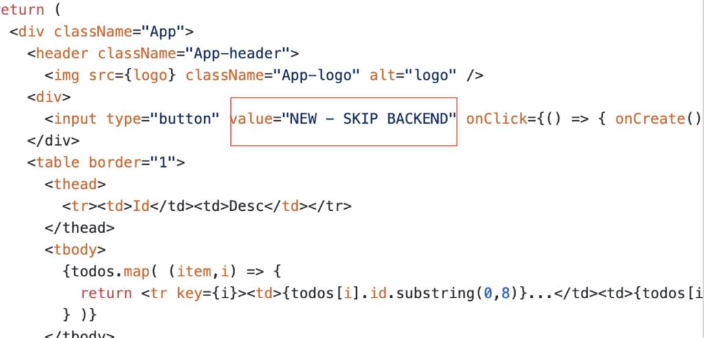 Screenshot of updated App.js file