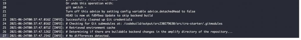 Screenshot of skipped backend build