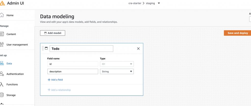 Screenshot of Admin UI data model