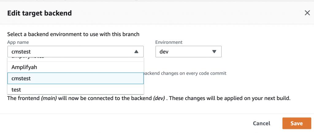 Screenshot of Edit target backend pop-up