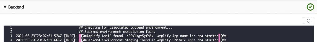 Screenshot of Backend Build Status